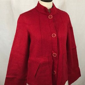 Coldwater Creek, Boiled Wool Jacket, Red, Size XS